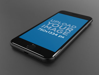 Space Gray iPhone 8 Mockup Lying on a Dark Gray Surface 22270