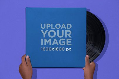 Vinyl Mockup Held Up by Two Hands 22119
