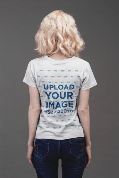 Back Shot T-Shirt Mockup of a Blonde Girl with Denim Jeans 21875