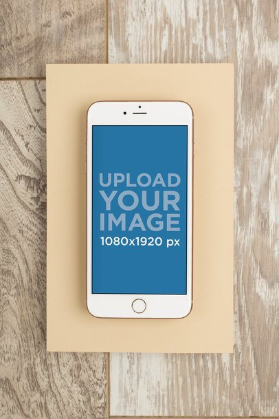 Gold iPhone 8 Mockup over a Wooden Background 22181