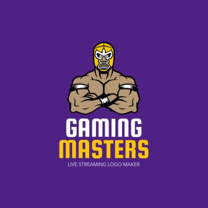Gaming Channel Logo Maker with a Wrestler Illustration 1323