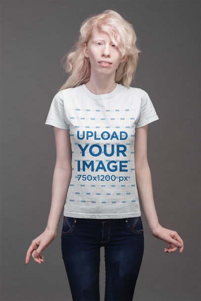 T-Shirt Mockup Featuring a Woman with Messy Hair Against a Gray Background 21873
