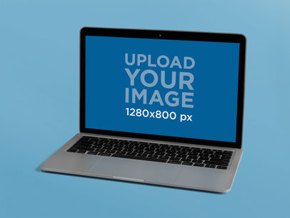 Silver MacBook Mockup Over a Solid Background 22358