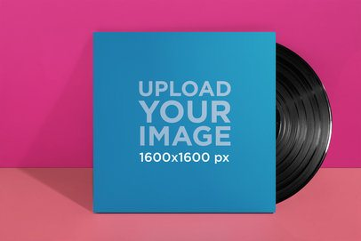 Vinyl Cover Mockup over a Two-Color Background 22008