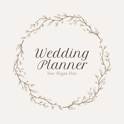 Wedding Planner Logo Maker with Leaf Icons - 1379