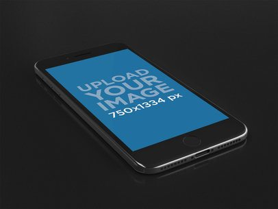 Angled Shot of an iPhone Mockup Over a Black Background 22275