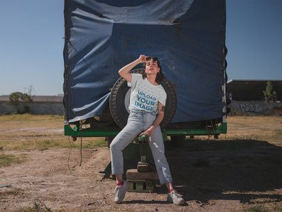 Tshirt Mockup Featuring a Girl in a Vintage Outfit Leaning Against a Truck 20043