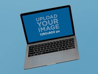 Floating MacBook Pro Mockup Against a Solid Background 22360