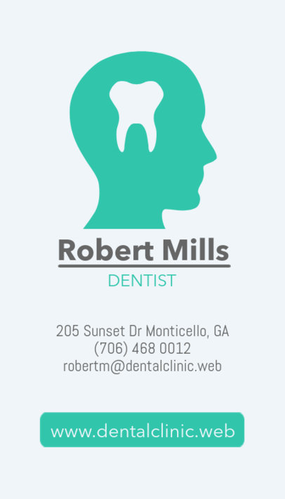 Vertical Business Card Template for Dentists 490a