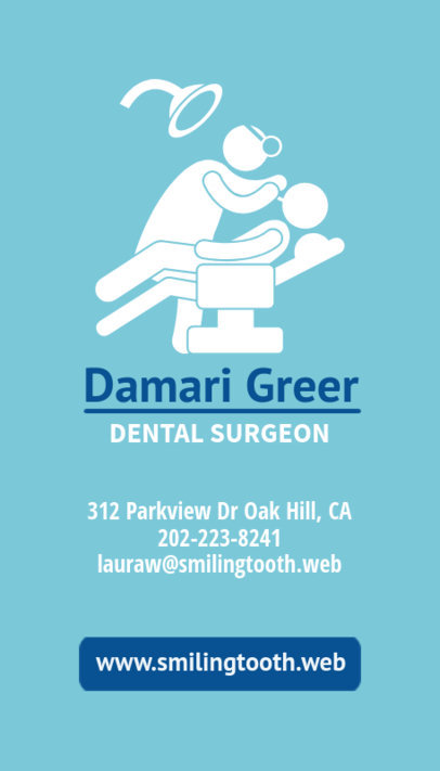 Business Card Template for Dental Surgeons 490e