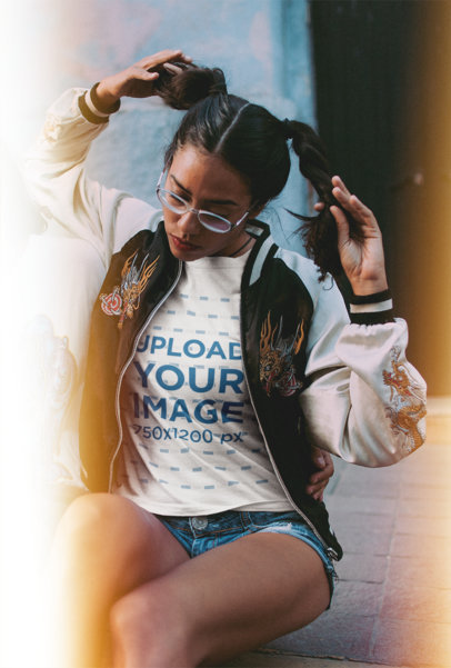 Round Neck Tee Mockup Featuring a Girl in a Vintage Jacket and Pigtails 19383