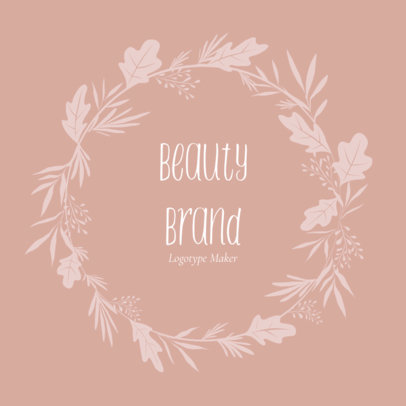 Beauty Brand Logo Creator with Leaves 1383e