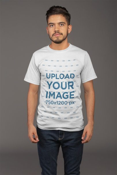 Mockup Featuring a Young Man with Beard Wearing a T Shirt and Jeans 21101