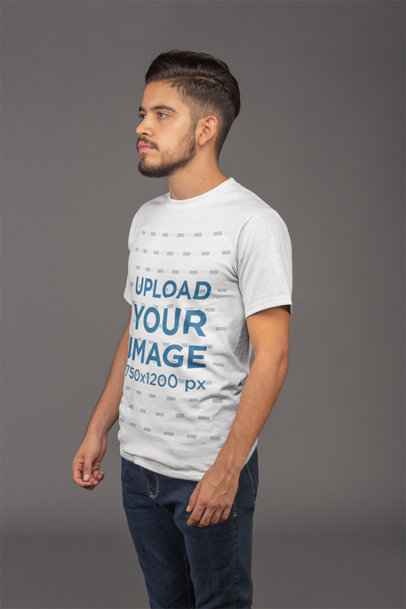 T-Shirt Mockup Featuring a Man with a Faux Hawk 21103