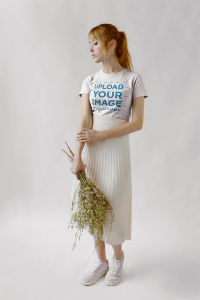 T-Shirt Mockup Featuring a Strawberry Blonde Woman 18360