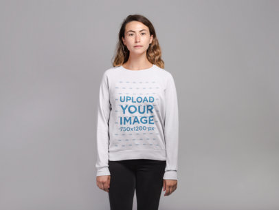 Crewneck Sweatshirt Mockup of a Woman with Highlights 21303