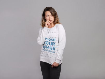 Mockup Featuring a Shy Woman Wearing a Crewneck Sweatshirt 21304