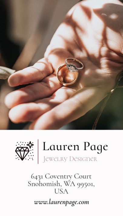 Vertical Business Card Maker for Jewelry Designers 569