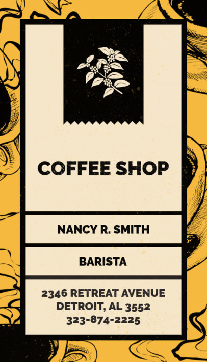Vertical Coffee Shop Business Card Creator 36