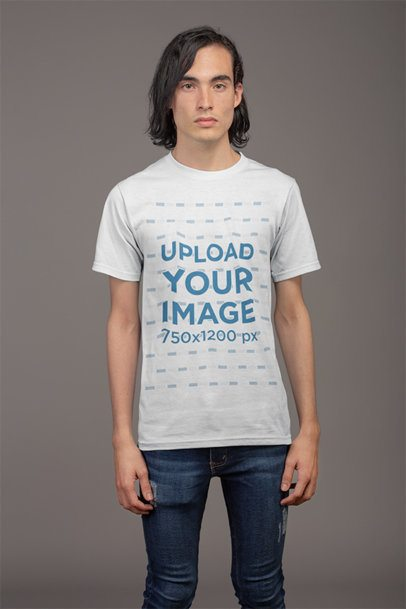 Front Shot Tshirt Mockup Featuring a Man with Black Hair in a Photo Studio 21145
