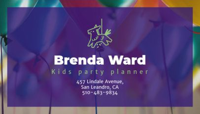 Kids' Party Planner Business Card Maker 85d--1762