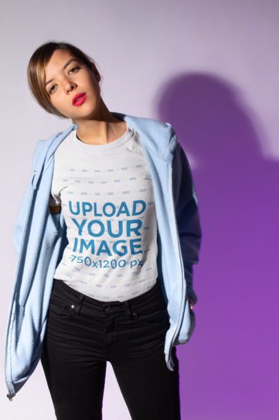 Crewneck Tee Mockup Featuring a Serious-Looking Girl in a Casual Outfit 18583