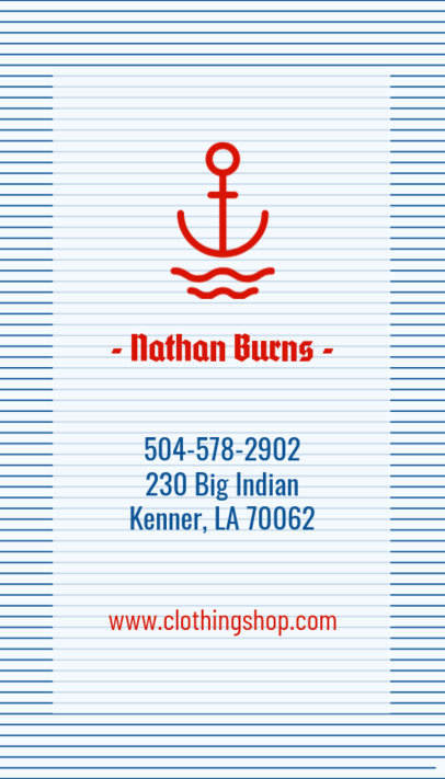 Nautical Clothing Brand Business Card Template 553a