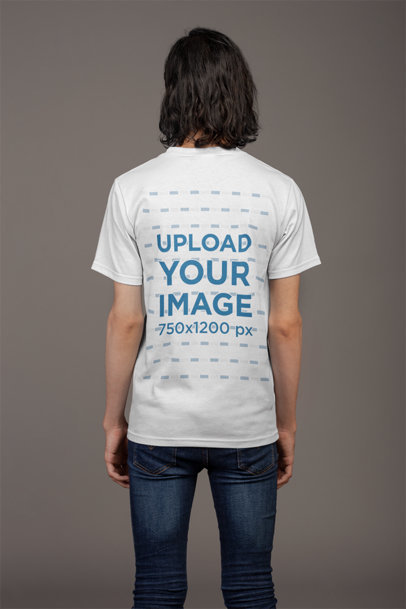 Back Shot T-Shirt Mockup of a Man Wearing Dark Skinny Jeans 21147
