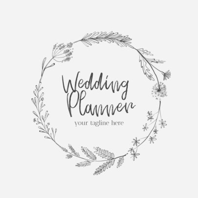 Wedding Logo Maker with Floral Frame 1379c