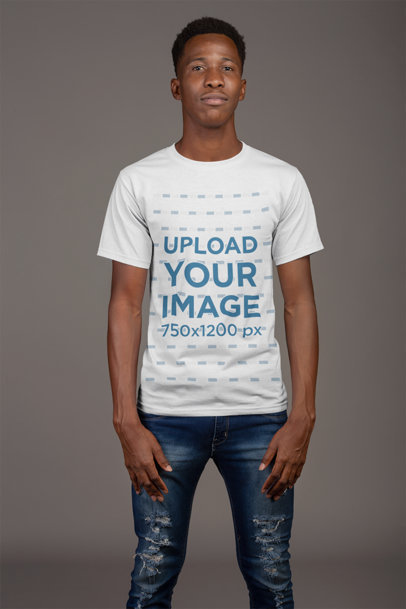 T-Shirt Mockup of a Man with a Coy Smile 21156