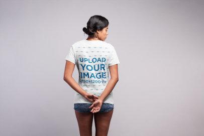 Backshot T-Shirt Mockup of a Woman With Messy Buns 21539