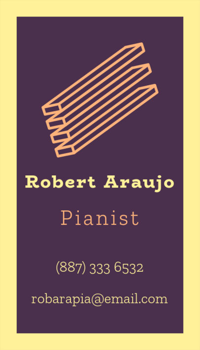 Simple Business Card Creator with Art Graphics for a Pianist 17c