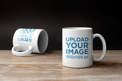 Mockup of Two Coffee Mugs on a Wooden Surface 22370