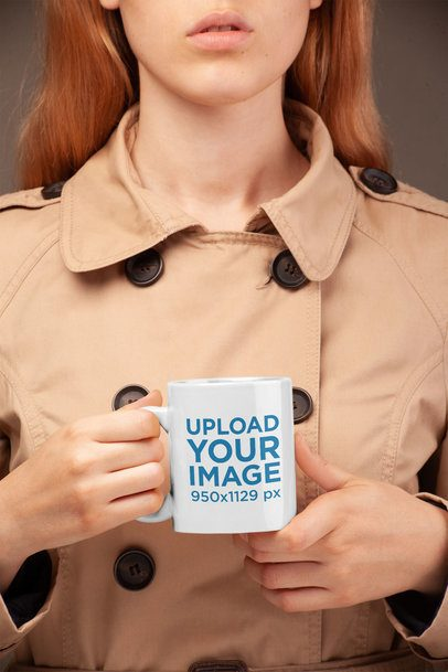 Coffee Mug Mockup Held by a Woman Wearing a Trench Coat  22378