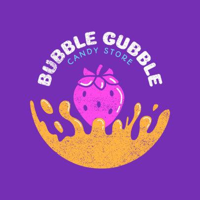 Bubble Gum Effect Candy Store Logo Maker 1391