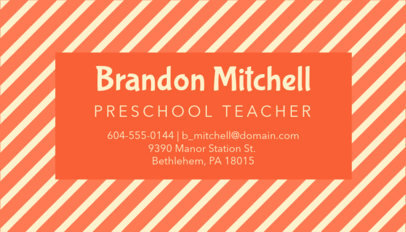 Business Card Template for Pre-K Teachers 575e