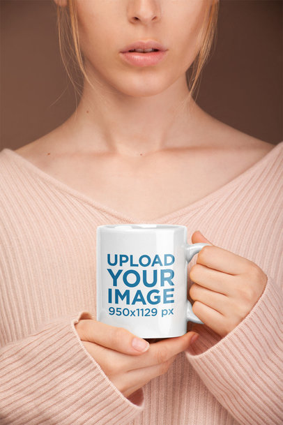 Mockup of a Mug Held by a Woman With Delicate Features 22385
