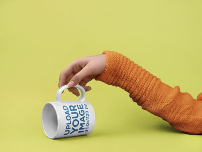 Mockup of a Lazy Arm Touching a Coffee Mug Handle 22374