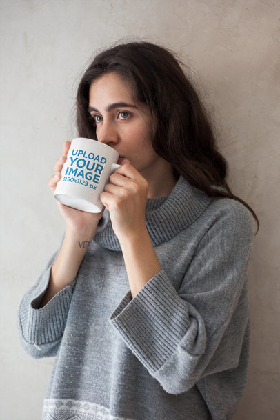 Mug Mockup Featuring a Girl Drinking Coffee in the Morning 22432