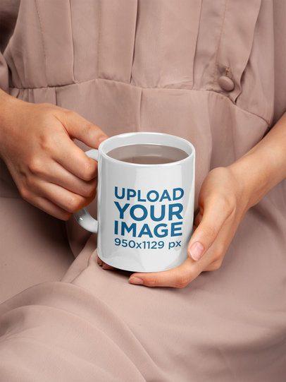 Coffee Mug Mockup Featuring an Elegant Woman Wearing a Tan Dress 22420