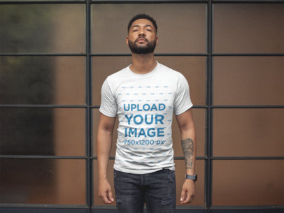 T-Shirt Mockup of a Man with a Defying Look 21340