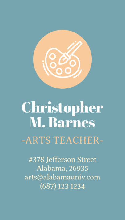Vertical Business Card Maker for Arts Teacher 573e