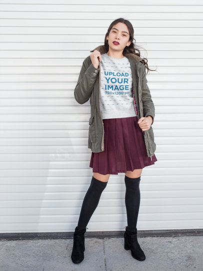 Heather Crewneck Sweater Mockup of a Girl Wearing a Skirt and a Green Jacket 18140