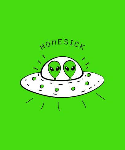 Homesick Alien T-Shirt Design Template 437c
