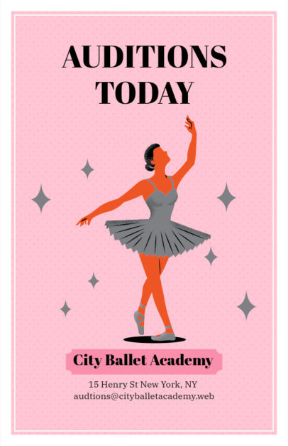 Ballet Academy Auditions Flyer Maker 422b