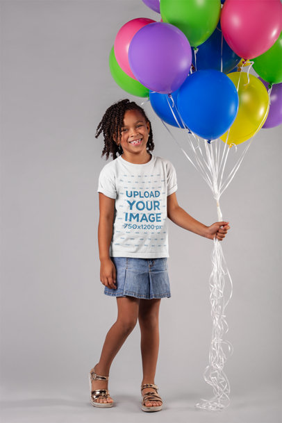 Tshirt Mockup Featuring a Happy Girl Holding Balloons 22049