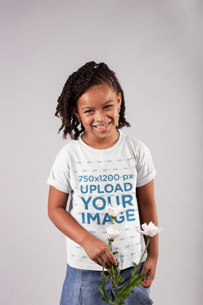 Round Neck T-Shirt Mockup of a Happy Girl with Braids Holding a Flower 22071
