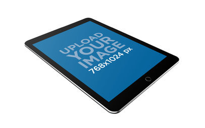 iPad Mockup Floating in Perspective Against a Solid Background 22799