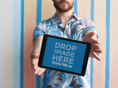 iPad Mockup Featuring a Man with a Red Beard 22602
