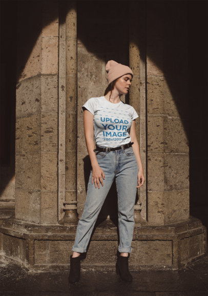 Round Neck Tee Mockup of a Girl Posing Outside a Stone Church 22658